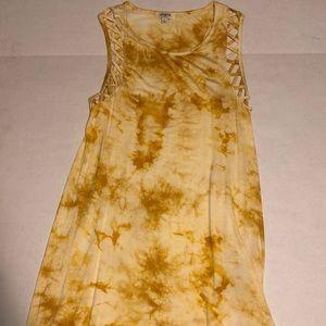 Mustard yellow tye dye dress